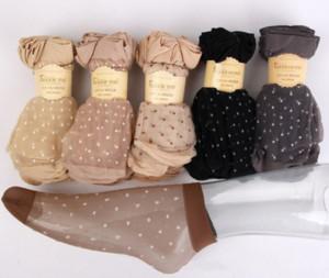 Polka dots nude transparent sheer socks