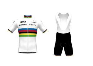 2021 Deceuninck Quick Step Team Weltmeister Kurzarm Radfahren Jersey Sommer Radfahren Wear Ropa Ciclismo + BIB Shorts 3D Gel Pad Set Größe: XS-4XL