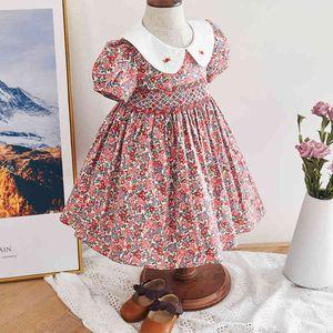 Infant Girl Smocked Floral Dress Baby Smock Frocks Children Spanish Boutique Clothes Baby Girl Spain Hand Made Smocking Dress 210326