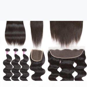 2018 البرازيلي العذراء شعر الإنسان موجة الجسم أو مستقيم 3 حزم و 4x4 إغلاق الدانتيل أو 13x4 الدانتيل فونتال الأذن إلى الأذن