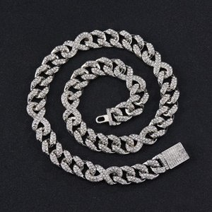 Chains 16mm Hip Hop Miami Curb Cuban Link Chain Necklace Iced Out Choker Bling Full Rhinestones Gold Silver Color Rock Rapper Jewelry