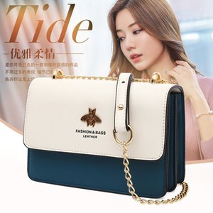 female 2021 Bag Fashion Shoulder Soft Leather Messenger contrast color chain bag Pu bee trend bags