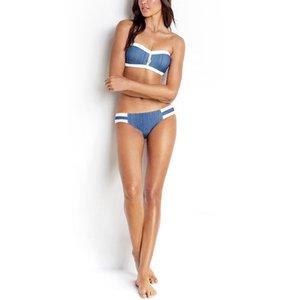 Bandeau Denim Split Bikini Swimsuit