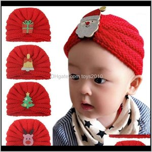 Caps Hats Aessories Baby, Kids & Maternity Drop Delivery 2021 Red Bebes Baby Girls Boys Xms Christmas Hat Thicken Warm Wool Turban For Born W