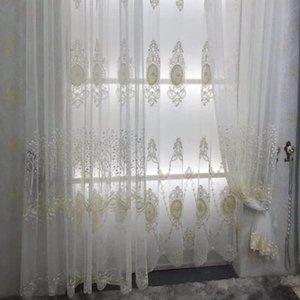 Занавес драпов французский роскошный кружевной жемчужный вышитый вуаль оконный тюль для гостиной прозрачная ткань на заказ JK055D