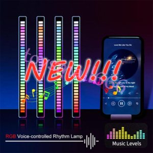 NEW!!! RGB Voice-Activated Pickup Rhythm Light, Creative Colorful Sound Control Ambient with 32 Bit Music Level Indicator Car Desktop LED Light Wholesale