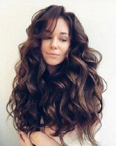 2021 Yeni Peruk Avrupa ve Amerikan Moda Trend Kabarık Uzun Kıvırcık Saç Mizaçlı Bayan Peruk Yüksek Sıcaklık Filifiye Kafa Kapak