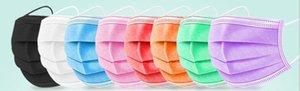 10 colores Máscaras desechables Black Pink Blanco con elástico Oreja Loop 3 PLY PUSPLE TRIMPLETLE AIR AIR ANTON DE LA CONTOLUCCIÓN Mascarilla de la boca adulto