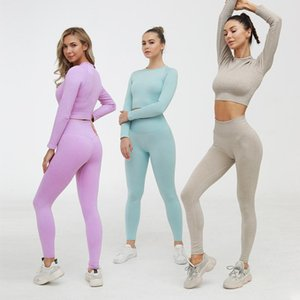 sexuality yoga wear 2021 Knitting seamless sexy fitness clothes women's tight-fitting t-shirt autumn winter sports clothes reveh risper