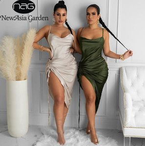Ruched Satin Summer Dress Drawstring Spaghetti Straps Cowl Neck Backless Long Dresses for Women Party Sexy 2021
