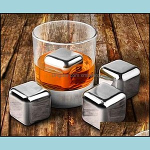 Buckets And Coolers Kitchen, Dining Bar Home & Garden100Pcs Whiskey Stainless Steel Stones Drink Ice Cooler Cubes Cool Glacier Rock Beer Zer