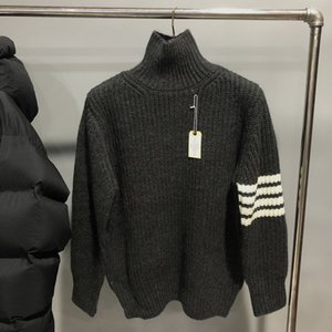 tees Fashion TB THOM Brand Sweaters Men Loose Turtleneck Pullovers Clothing Solid Striped Wool Autumn Winter Thick Casual Coat