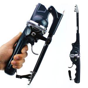 1 conjunto portátil Folding Pesca Haste Telescópica Aço Inoxidável Mosca Polos De Pesca Com Linha De Carretel Mini Rod Dobrável Para Peixes