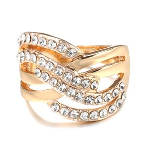 Twist Ring Gold Color with Micro Crystal Zircon Stone Delicate Wedding Rings Lady Fashion Jewelry