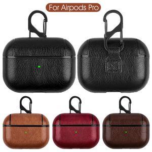 Кожаный чехол для AirPods Pu + PC Cover Cover Case для AirPods Pro Bluetooth-ушные наушники Наушники кожаный крючок застегивают брелок защитный чехол