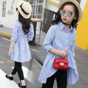Girls School Blouses Cotton Spring Children Clothing Irregular Striped Shirt Clothes for 12 Years Tee Enfant 210622