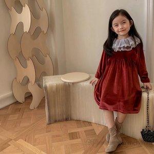 Girls red velvet dresses kids lace gauze embroidery long sleeve princess dress christmas children party clothing Q2246