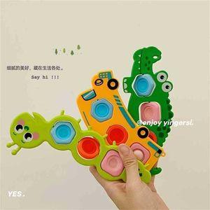 Cute Fun Pioneer Push Pop Fidget Toys Fashion Rainbow Poppers Bubble Caterpillar Bus Crocodile Early Teach Finger Board Game Decompression Toy G95P85S