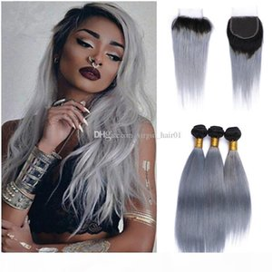 Grey Ombre Brazilian Hair Bundles with Closure Silky Straight Black and Gray Hair Extensions Two Tone 1B Grey Ombre Human Hair