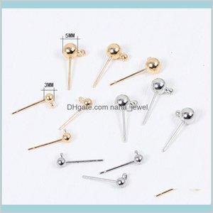 100 قطع 3-6 ملليمتر الكرة جولة رؤساء دبابيس الإبر معلقة القرط مسمار كتل ل diy اليدوية صنع المجوهرات النتائج B2P1W NGBDJ