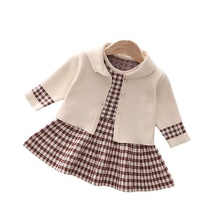 Girls Sweater Sets Kids Clothing Baby Clothes Outfits Autumn Winter Long Sleeve Knitting Patterns Cardigan Coat Sleeveless Dress Cute Suits Plaid Cotton 2Pcs B8352