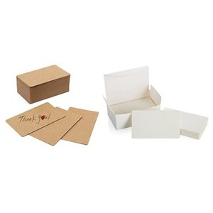 Greeting Cards 100Pcs Blank Kraft Paper Business Word Card With White Cardboard Message