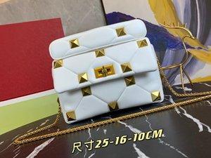 REALFINE888 3A V0182 25 cm Tachuelas romanas medianas de las mujeres Bolsos de hombro Cadena Moda Bolsos de la moda Bolso de crochet con bolsa de polvo