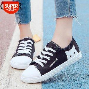 Mulheres Tênis Lace Up Sapatos Casuais Cat Sapatos de Lona Mulher Flats Espadrilles Branco Senhoras Zapatos Mujer Primavera LHCGY 7416 # NR9K