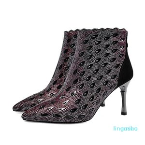 Fashion-Boots Arrive Fashion Pointed Toe High Heels Quality Stiletto Black Ankle For Woman