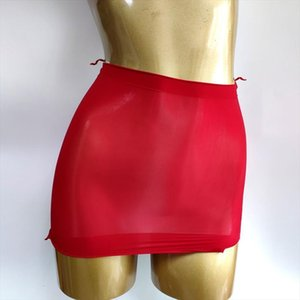 Double Use Oil Shiny Women Skirts Ol Mini Sheer Gloosy Tight Pencil Cute See Through Candy Color Micro 912