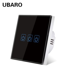 UBARO EU UK Tempered Crystal Glass Panel Wall Light Touch Switch On Off Lichtschalter Power Sensory Home Switches 3 Gang 220V
