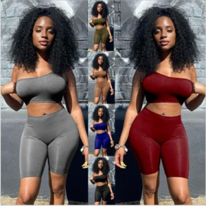 Solid Asymmetrical 2 Two Piece Sets Women Tracksuits Crop Tops+Elastic Bike Shorts Sporty Matching Suits Casual Female Outfit