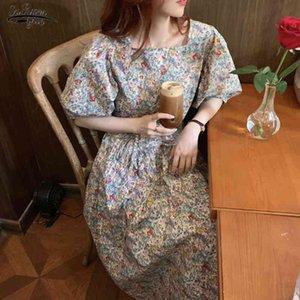 Französisch Stil Vintage Halbhülsenhülse Floral Gedruckt Kleid Frauen Frühling Sommer Mädchen Tender Elegante Kleider Vestidos 14557 210521