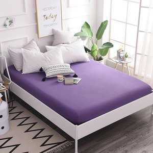 Sheets & Sets 1pcs Cotton Solid Fitted Sheet Mattress Cover Four Corners With Elastic Band Bed Color Bedding Linens #s