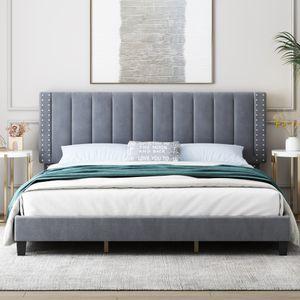 King Bedframe с регулируемой изголовьями, мебелью спальни, кровати, мягкой платформой, постель, фундамент для матраса, поддержка деревянных планок