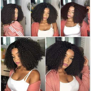 Lace Wigs 4X4 Closure Wig PrePlucked Afro Kinky Curly Human Hair Remy 13x1 T Part Front For Women Short