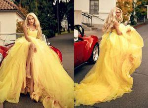 Удивительный желтый без бретелек бальное платье выпускного платья 2021 высокая сторона щель длиной полов плиссированный корсет вечернее особое случаи коктейль платье платье