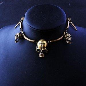 Gótico Cuervo Cadena de clavícula Pájaro Skull Pagan Halloween Esqueleto Collar para Mujeres Color Oro Goth Jewelry Regalo Venta al Por Mayor VGN036 Chokers