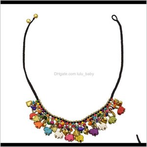 Retro Style With Colorful Elephant Shape Gravel Beads Love Bell Necklace For Women Edkbr Beaded Necklaces Aqsdl