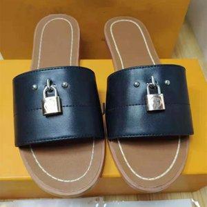 Mujeres de cuero plana zapatillas de bloqueo de lona de lona de lona de mula diseñadora de lady plantillas de plantilla de plantillas