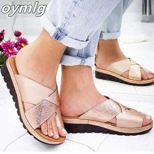 Women Artificial PU Shoes Slippers Orthopedic Bunion Corrector Comfy Platform Wedge Ladies Casual Big Toe Correction Sandal L0322