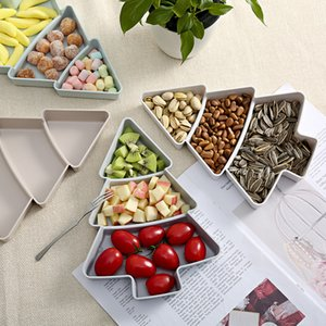 Home Furnishing Fruits Storage Dish With Division Plates Christmas Tree Shaped Pure Color Candy Snacks Fruit Tray Top Quality Special For Festivals