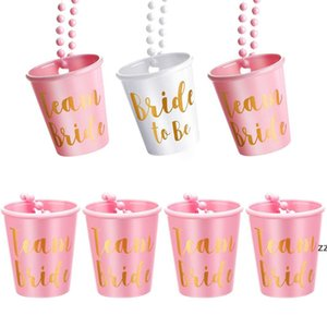 Bachelorette and Bride Party Decoration Shot Glass Necklace with Gold Foil for Bachelor Wedding Parties Bridal Shower HWF10282