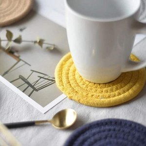 Table Runner 6 Piece Cotton Woven Round Beverage Pad Set Absorbent Anti-Wrinkle Drink