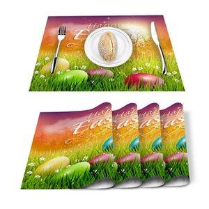 Table Runner 4 6pcs Easter Egg Greeting Card Grass Kitchen Placemat Set Dining Mats Cotton Linen Pad Bowl Cup Mat Home Decor