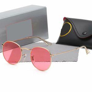 2021 Classic Round Ray Design UV400 Eyewear Métal Gold Bans Cadre Sun Lunettes Hommes Femmes Miroir 3447 Lunettes de soleil Verre polaroid