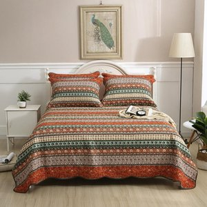 Comforters & Sets CHAUSUB Cotton Quilt Set 3PCS Bedspread With 2 Shams Bohemia Classic Print Queen Size Quilted Coverlet Blanket On Bed