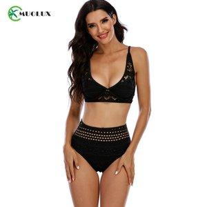 La alta cintura del cordón del negro del traje de baño del bikini Conjunto Tankini 2021 Sólido atractivo empuje los bikinis Mujeres blanca de los juegos de natación del traje de baño ropa de playa hasta S-XL de la Mujer