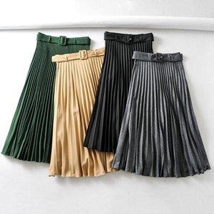 Skirts 2021 Autumn Fashion Cotton Pleated Skirt Elastic High Waist All-match Female's Bottoms Leather Black