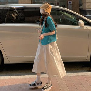 White Skirt Womens Spring and Autumn Mid-Length A- line Skirt 2021 New Cover Skirt Slimming Small Long Made in China